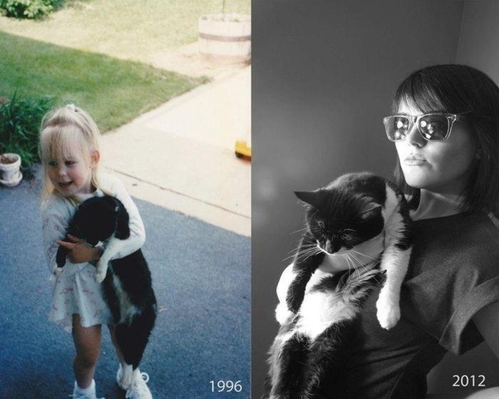 Годы не властны над настоящей дружбой. животные, питомцы, тогда и сейчас