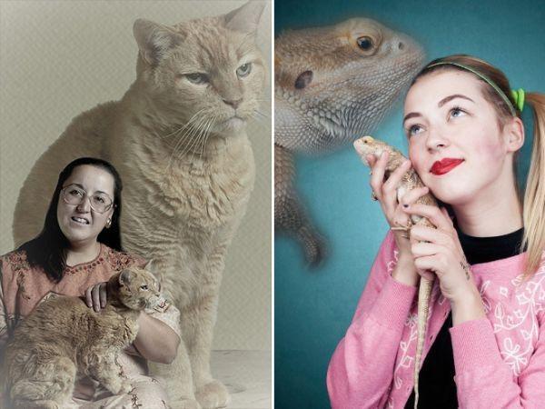 20 сумасшедших семейных фотографий с домашними питомцами животные, питомцы, прикол
