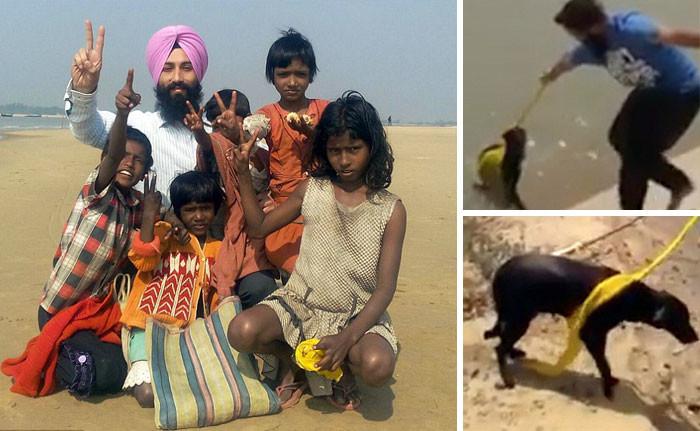 Мужчина, презрев обычай, снял тюрбан, чтобы спасти тонущую собаку животные, спасение, счастливый конец