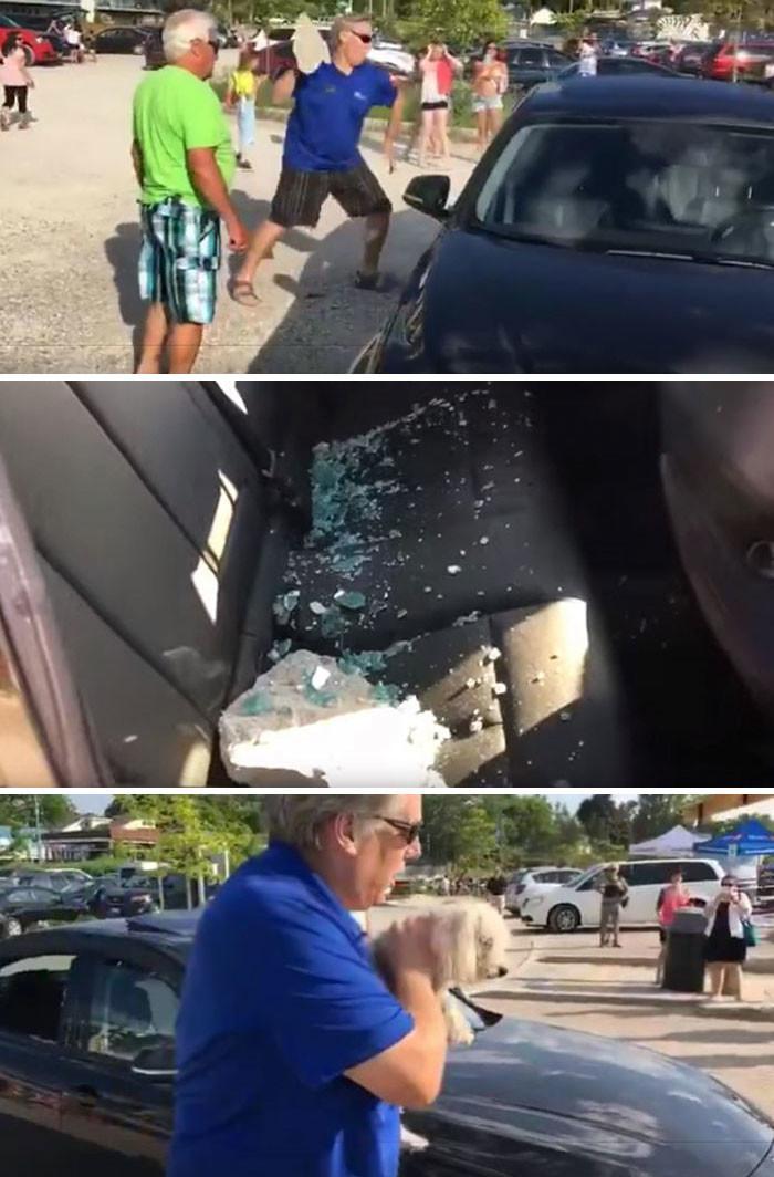 Мужчина бросает камень в окно BMW, чтобы спасти собаку, запертую в машине на жаре животные, спасение, счастливый конец