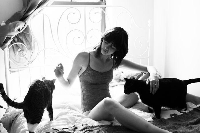 Элизабет с Декстером и Бинксом девушки, животные, коты, фотопроект