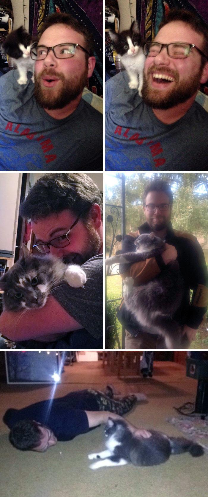"""""""Мой бойфренд говорил, что не любит кошек. А сейчас - посмотрите на него!"""" животные, забавно, кошки, любовь к животным, обаяние, смешно, фото, эти забавные животные"""