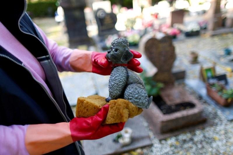 Местные жители прибираются у своей собаки, Франция, 30 октября 2016.  домашние животные, животные, кладбище, кладбище собак, франция