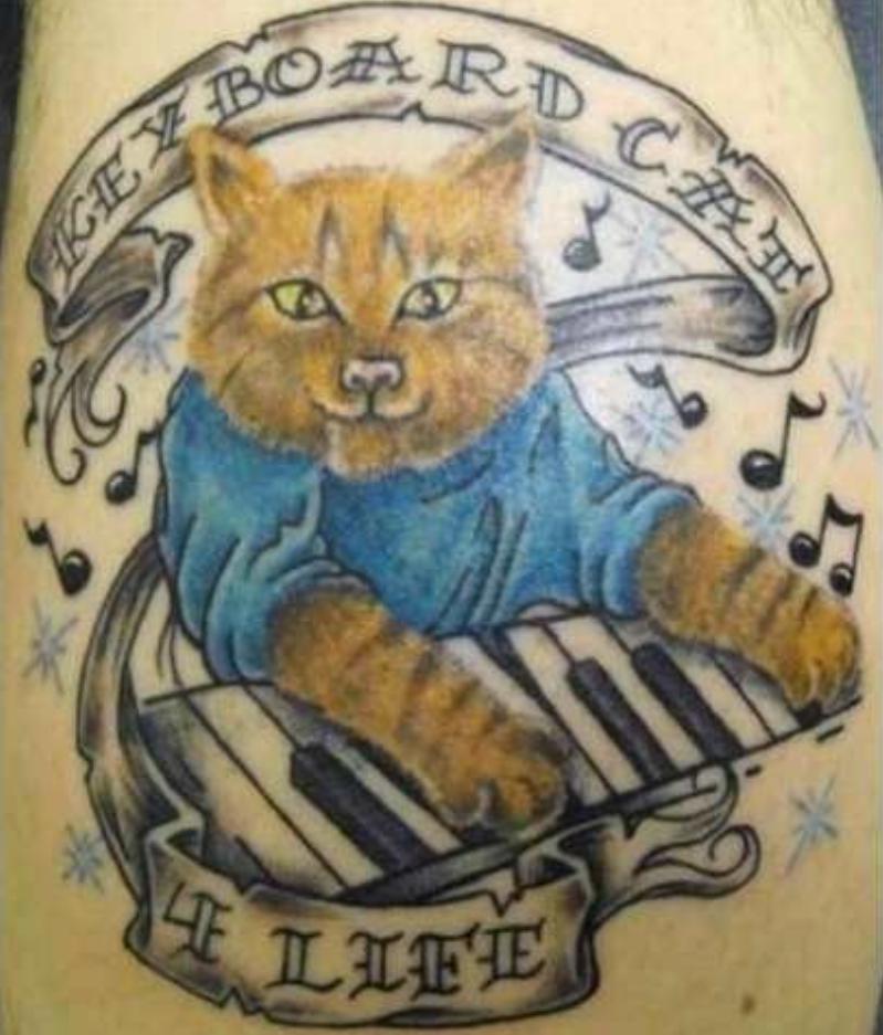 25. Просто кот-музыкант  животные, мастер, мастерство, провал, результат, тату, эскиз