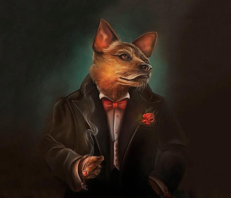 12. Фрэнк Синатра животные, иллюстрация, картина, личность, портрет, фантазия, художница