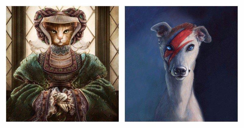 Антропоморфные животные, вдохновленные знаменитыми личностями животные, иллюстрация, картина, личность, портрет, фантазия, художница