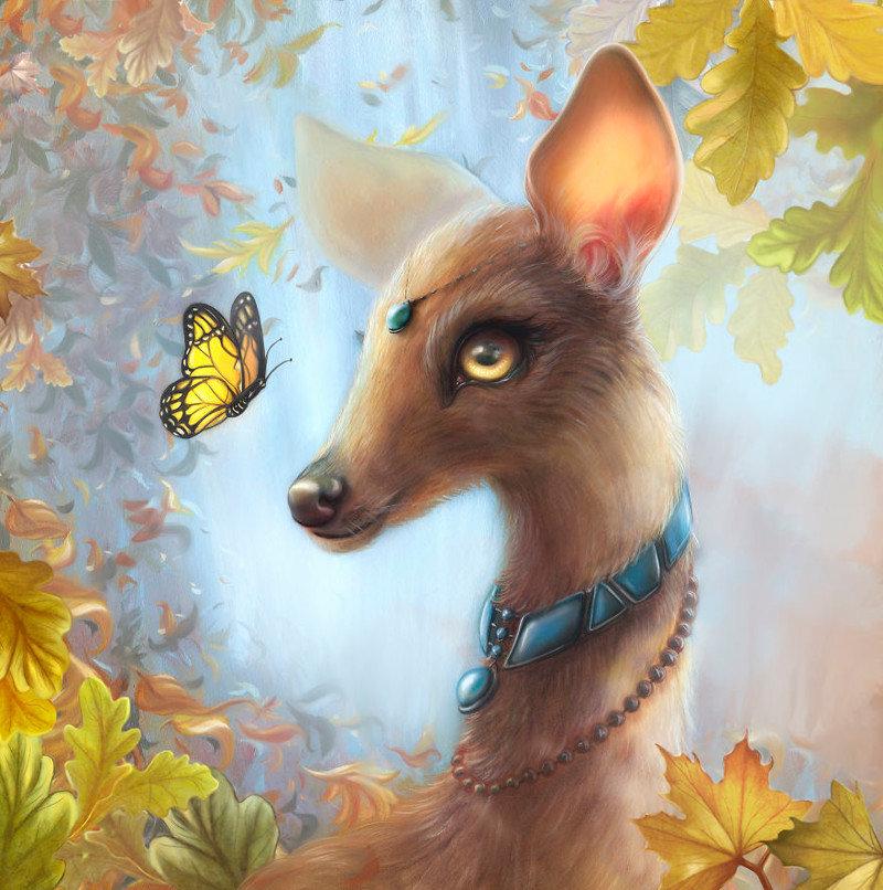 3. Покахонтас животные, иллюстрация, картина, личность, портрет, фантазия, художница