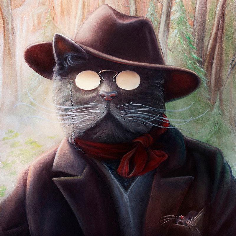 5. Теодор Рузвельт животные, иллюстрация, картина, личность, портрет, фантазия, художница