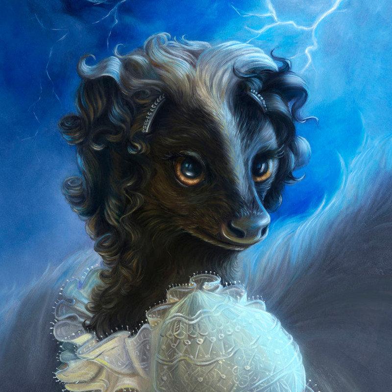 9. Мэри Шелли животные, иллюстрация, картина, личность, портрет, фантазия, художница