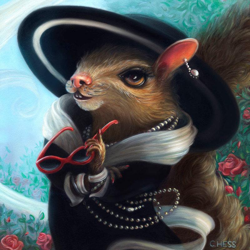 6. Коко Шанель  животные, иллюстрация, картина, личность, портрет, фантазия, художница
