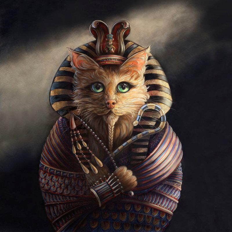 10. Тутанхамон животные, иллюстрация, картина, личность, портрет, фантазия, художница