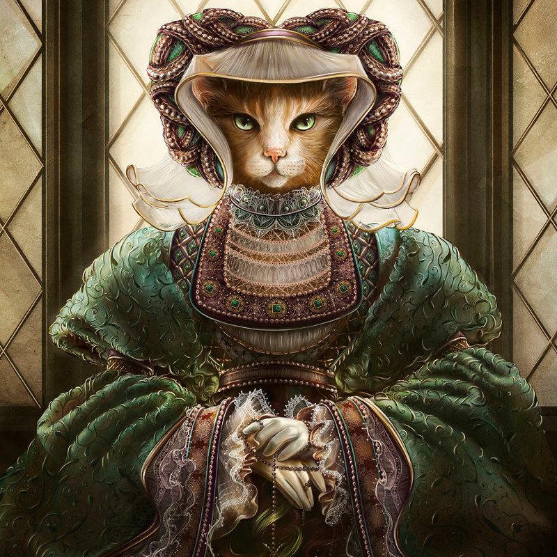7. Анна Клевская животные, иллюстрация, картина, личность, портрет, фантазия, художница