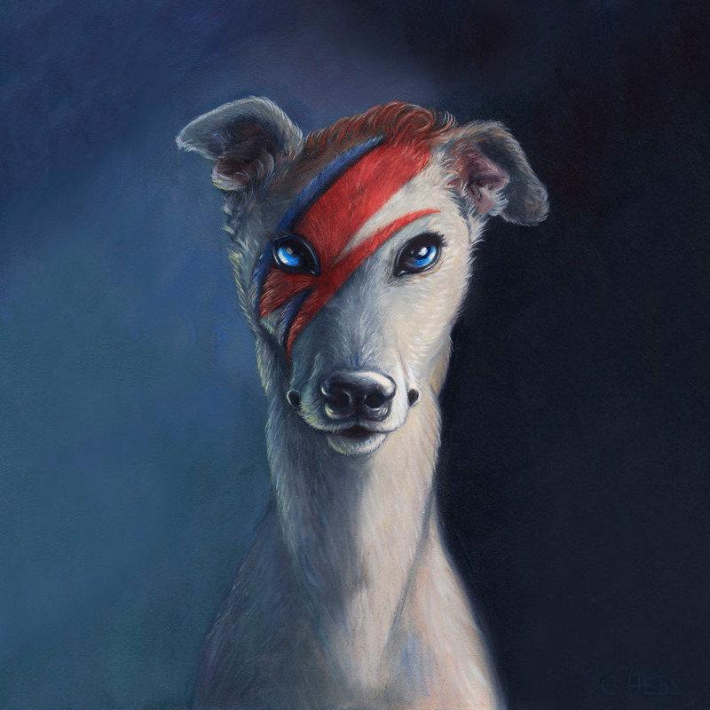 1. Образ Дэвида Боуи  животные, иллюстрация, картина, личность, портрет, фантазия, художница
