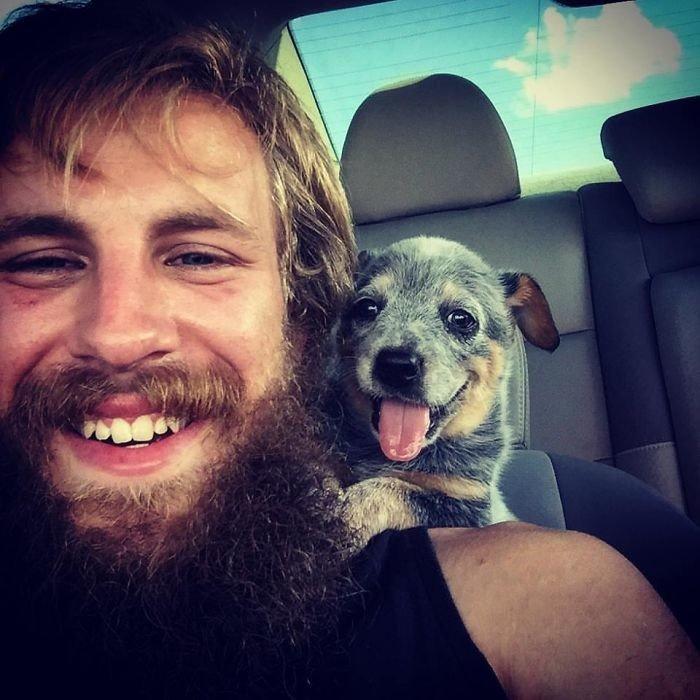 """""""Едем домой с моей девочкой"""" дружба, животные, любовь, любовь с первого взгляда, первая встреча, пес и я, собаки, хозяева"""