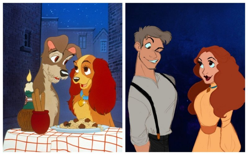 """""""Леди и Бродяга"""" анимация, дисней, животные, перевоплощение, персонажи, фото, художник"""